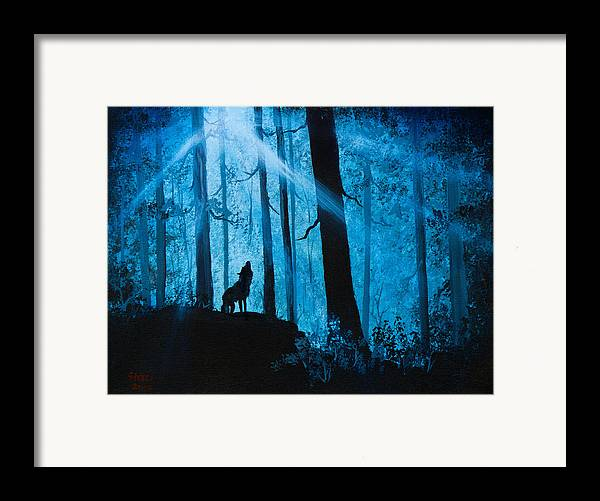 Landscape Framed Print featuring the painting Moonlight Serenade by C Steele