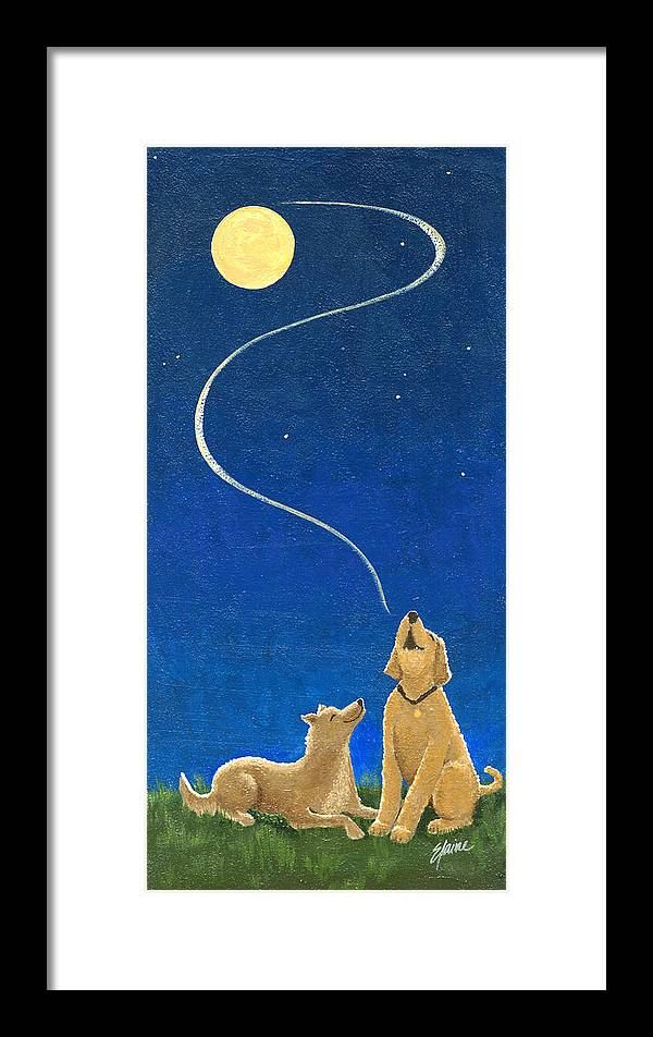 Border Collie Framed Print featuring the painting Moonlight Serenade by Elaine Allen