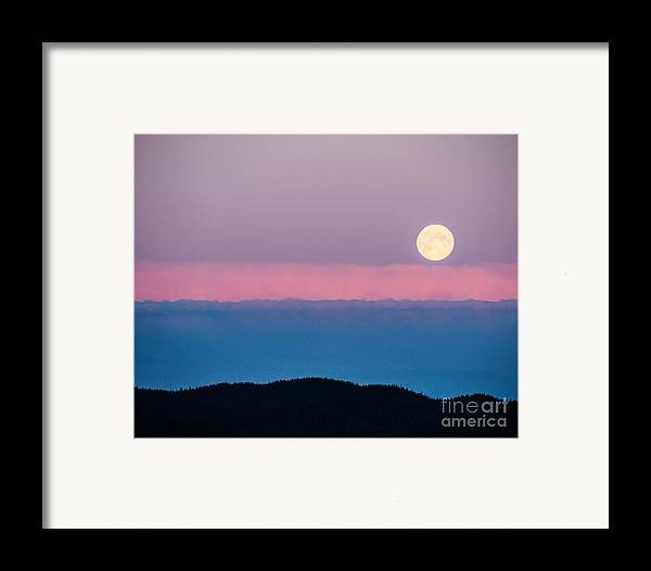Moon Rise Framed Print featuring the photograph Moonrise by Christina Klausen