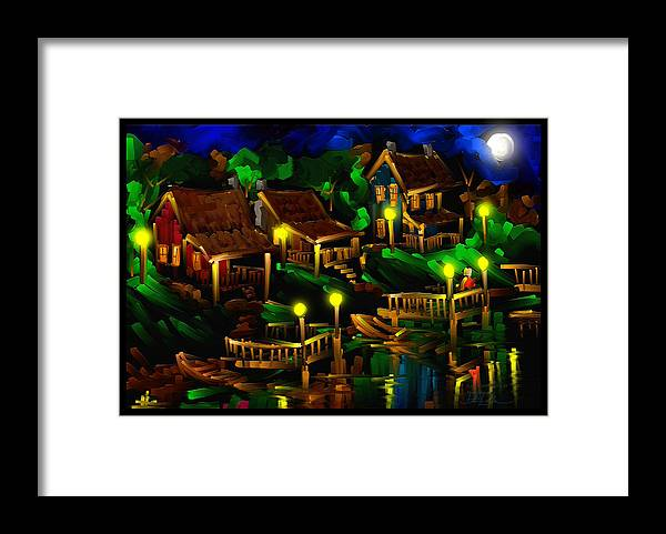 Moonshine Framed Print featuring the painting Moonshine Lake - Scratch Art Series - # 26 by Steven Lebron Langston