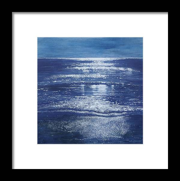 Sea Framed Print featuring the painting Moonstone by Mark Leavitt