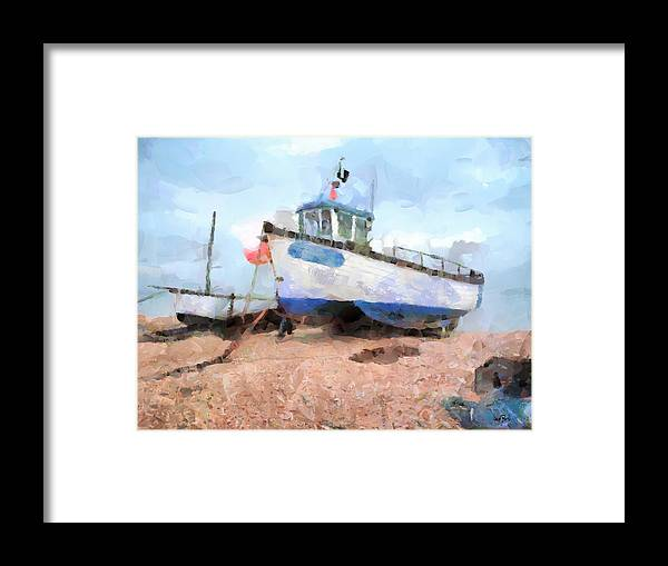 Ship Framed Print featuring the painting Moored by Wayne Pascall