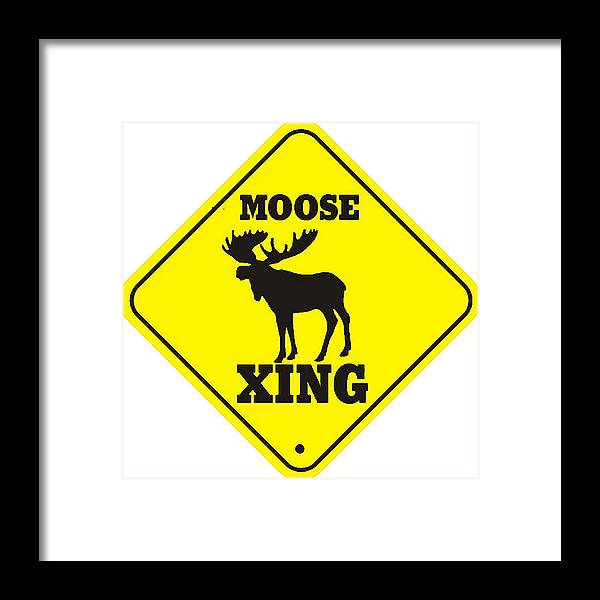 moose crossing sign framed print by marvin blaine