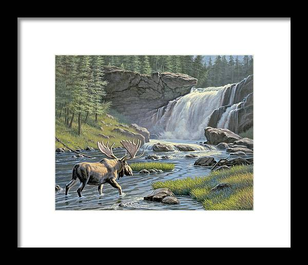 Wildlife Framed Print featuring the painting Moose Falls by Paul Krapf