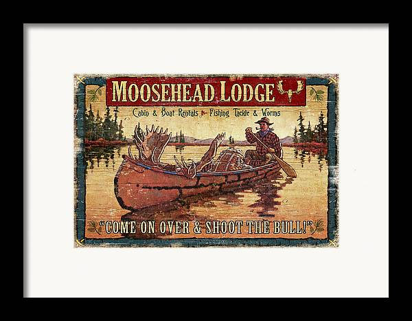 Tin Tanner Framed Print featuring the painting Moosehead Lodge by JQ Licensing