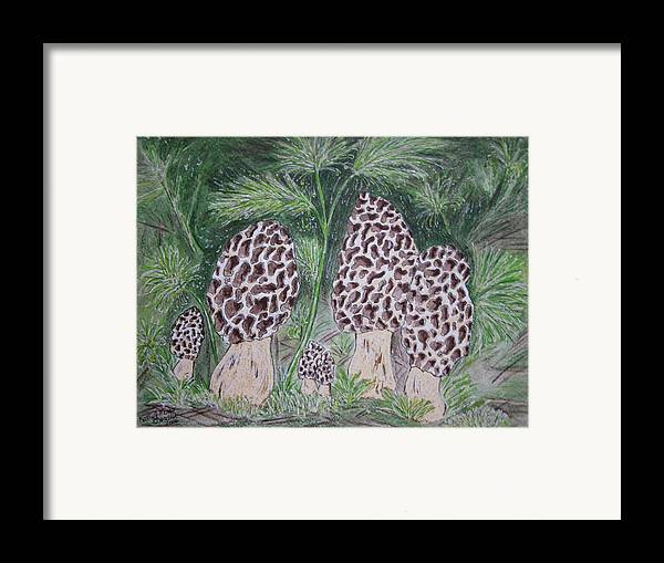 Morel Framed Print featuring the painting Morel Mushrooms by Kathy Marrs Chandler