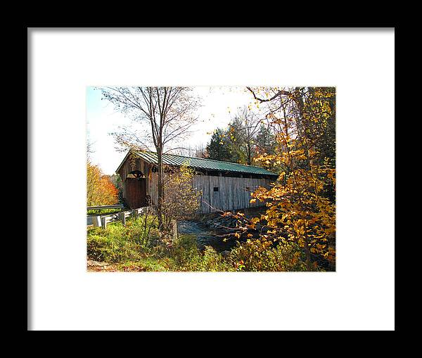Covered Bridge Framed Print featuring the photograph Morgan Bridge 2 by Barbara McDevitt