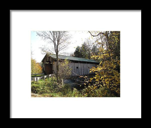Covered Bridge Framed Print featuring the photograph Morgan Bridge Belvidere Junction Vermont by Barbara McDevitt