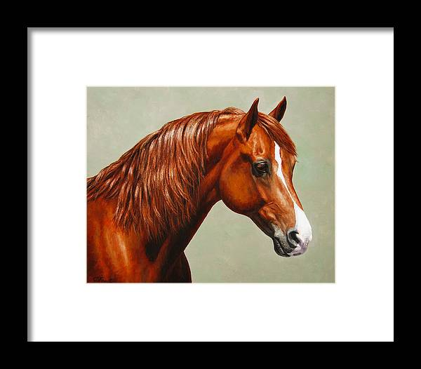 Horse Framed Print featuring the painting Morgan Horse - Flame by Crista Forest