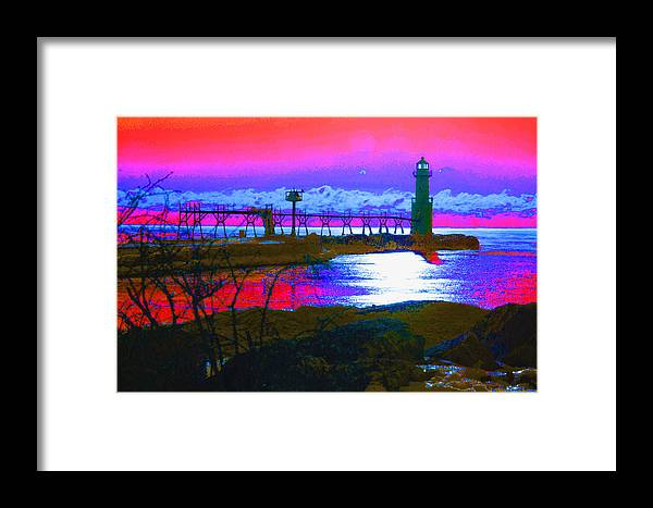 Lighthouse; Lighthouses; Algoma; Algoma Pierhead Light; Wisconsin; Lake Michigan; Great Lakes; Abstract; Maritime Framed Print featuring the photograph Morning At The Algoma Light An Abstract by Janice Adomeit