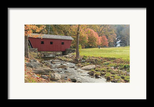 Covered Bridge Framed Print featuring the photograph Morning At The Park by Bill Wakeley