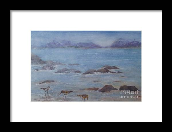Seascape Framed Print featuring the painting Morning Calm by Sandra Ramsey