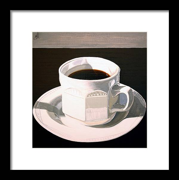 Acrylic Painting Framed Print featuring the painting Morning Coffee At Lou's Cafe by Wm Kelly Bailey