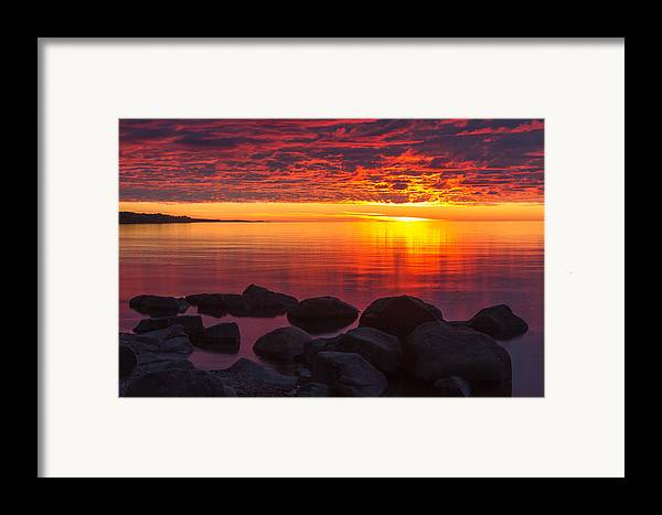 morning Glow lake Superior lake Superior North Shore Nature nature Cards Duluth brighton Beach Sunrise Dawn great Lake mary Amerman Framed Print featuring the photograph Morning Glow by Mary Amerman