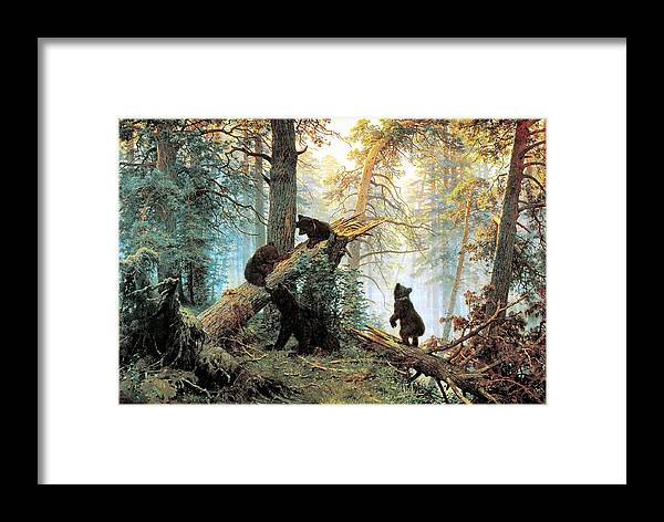 Morning In A Pine Forest Framed Print featuring the digital art Morning In A Pine Forest by Ivan Shishkin