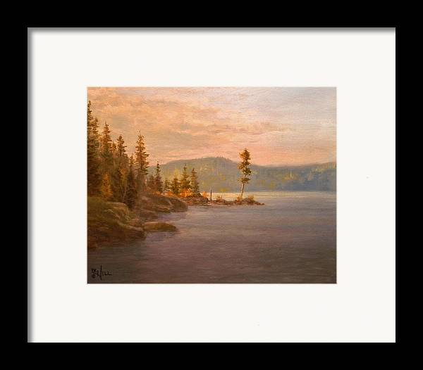 Coeur D'alene Framed Print featuring the painting Morning Light On Coeur D'alene by Paul K Hill