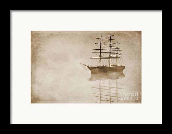 Sailing Ship Framed Print featuring the digital art Morning Mist In Sepia by John Edwards