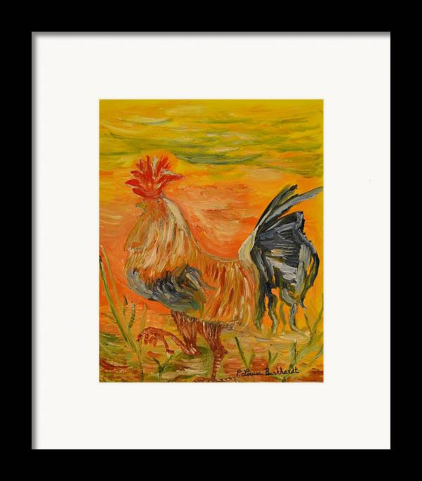 Chicken Framed Print featuring the painting Morning Stroll by Louise Burkhardt