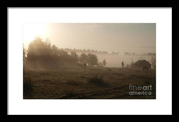 Landscape Framed Print featuring the painting Morningmist by Anne Randerz