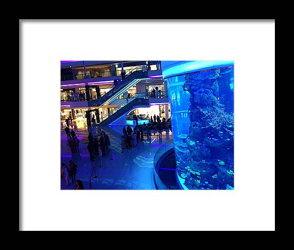 Blue Framed Print featuring the photograph Morocco Mall Blue by Hannah Rose