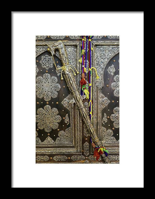Africa Framed Print featuring the photograph Morocco, Tin Decorated Cabinet With Tin by Brenda Tharp