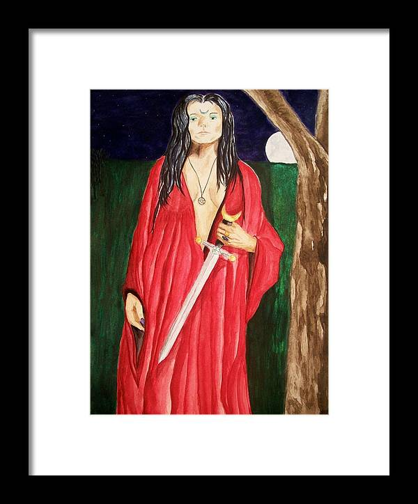 Goddess Framed Print featuring the painting Morrigan by Carrie Viscome Skinner