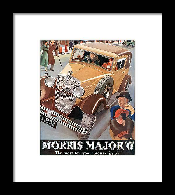 Advertisement Framed Print featuring the drawing Morris Major 6 - Vintage Car Poster by World Art Prints And Designs
