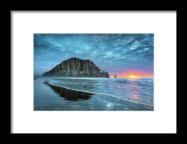 Tranquility Framed Print featuring the photograph Morro Sunset by Tom Grubbe