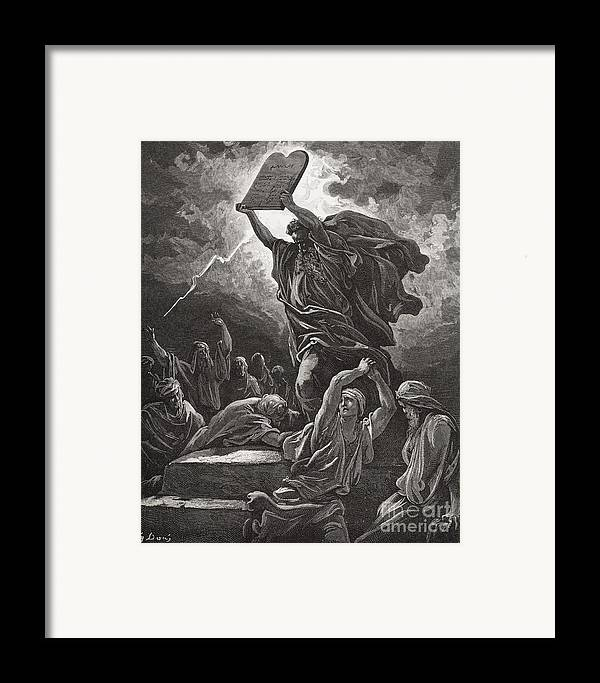 Tables Framed Print featuring the painting Moses Breaking The Tablets Of The Law by Gustave Dore