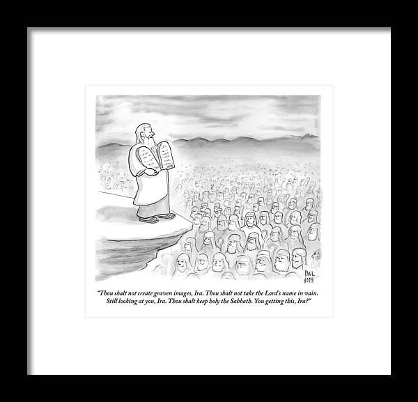 Moses Recites The Ten Commandments To An Audience Framed Print By