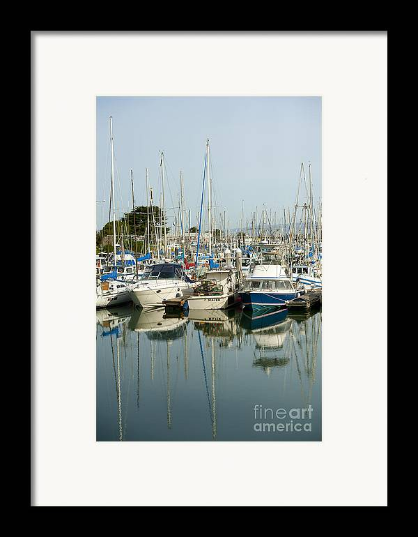 Moss Landing Harbor Framed Print featuring the photograph Moss Landing Boat Harbor by Artist and Photographer Laura Wrede