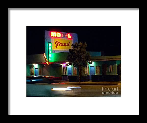 City Framed Print featuring the photograph Motel Grand by Amy Bynum