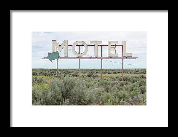 Grass Framed Print featuring the photograph Motel Sign In Field Of Sage Brush, Out by Mint Images