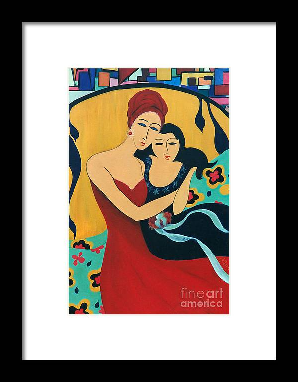 #motherandchild Framed Print featuring the painting Mother And Child by Jacquelinemari