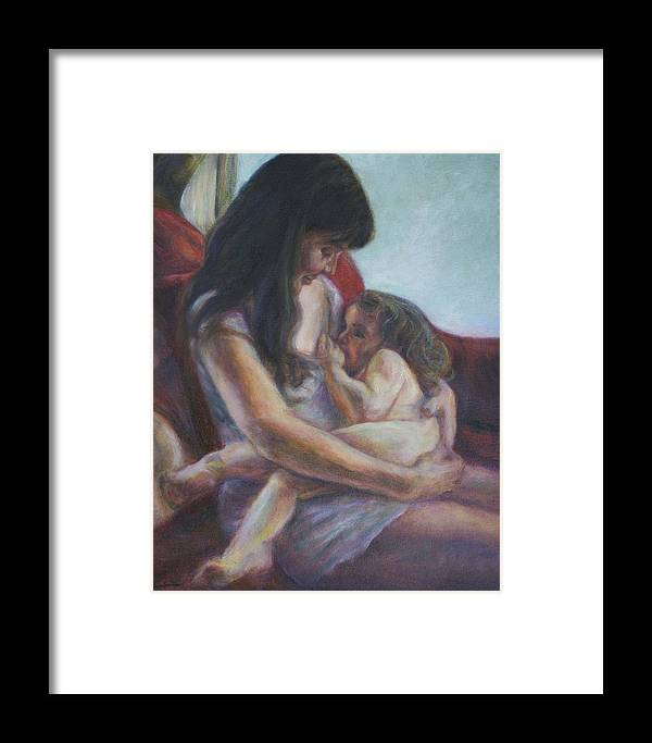Portrait Framed Print featuring the painting Mother And Child by Quin Sweetman