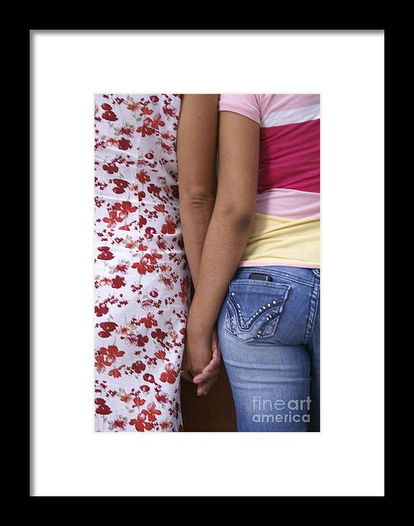 Guatemala City Framed Print featuring the photograph Mother And Daughter Holding Hands Guatemala by John Mitchell