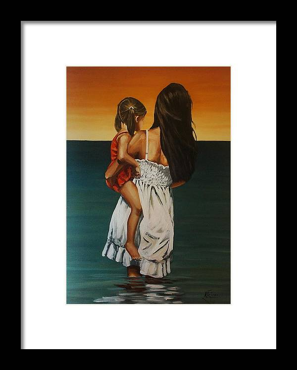 Mother Framed Print featuring the painting Mother and daughter II by Natalia Tejera