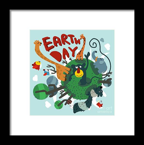 Symbol Framed Print featuring the digital art Mother Earth Day. Vector Illustration by Maraga