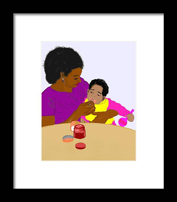 Mother Framed Print featuring the painting Mother Feeding Her Baby by Pharris Art