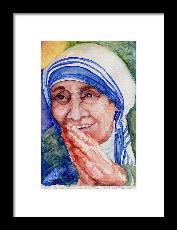 Elle Fagan Framed Print featuring the painting Mother Teresa by Elle Smith Fagan