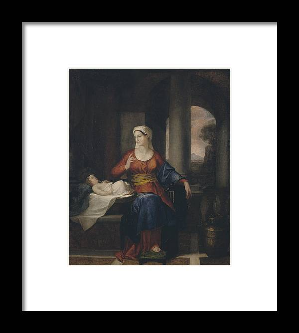 Washington Allston Framed Print featuring the painting Mother Watching Her Child by Washington Allston
