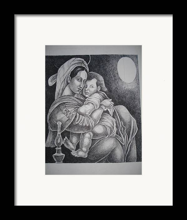 Mother Framed Print featuring the painting Mother With Her Baby by Prasenjit Dhar