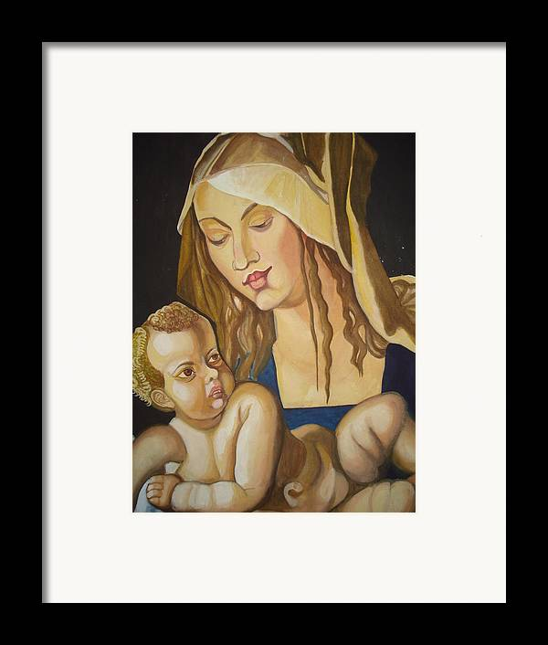 Mother Framed Print featuring the painting Mother With Her Child by Prasenjit Dhar