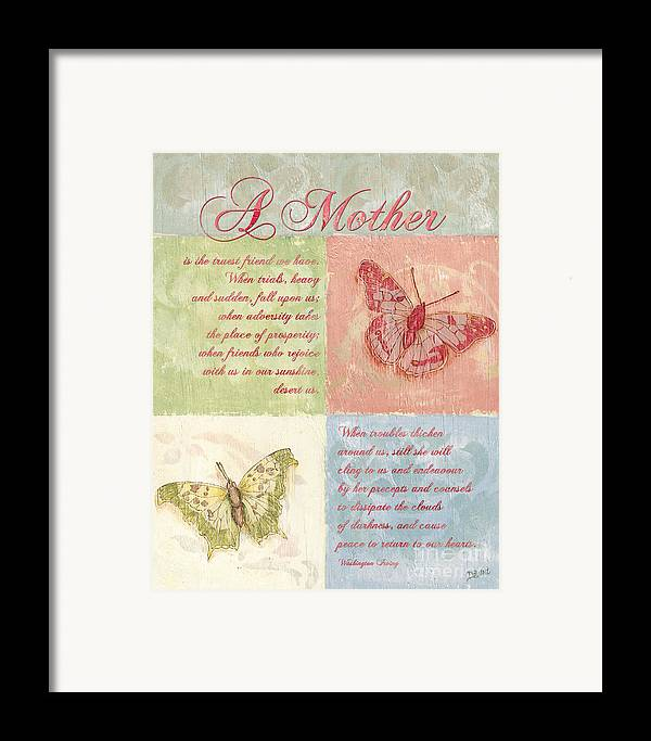 Butterfly Framed Print featuring the painting Mother's Day Butterfly Card by Debbie DeWitt