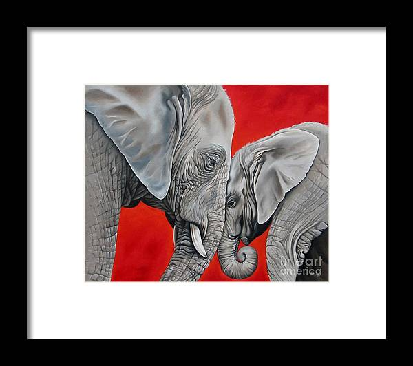 Elephant Framed Print featuring the painting Mothers Love by Ilse Kleyn