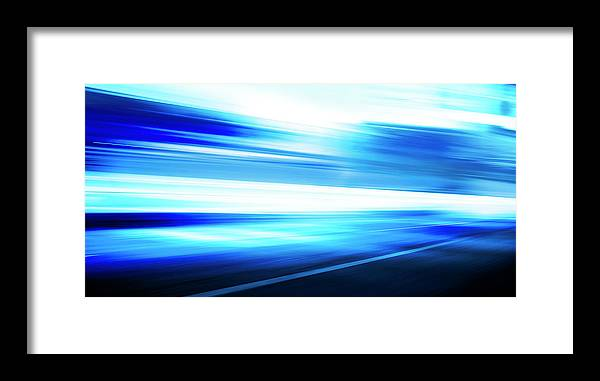Empty Framed Print featuring the digital art Motion Blue Road by Aaron Foster