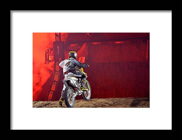 Motorcross Framed Print featuring the photograph Motorcross 8 by Paulina Roybal