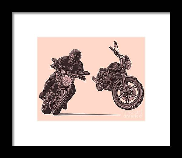 Symbol Framed Print featuring the digital art Motorcycle. Hand Drawn Engraving by Marzufello