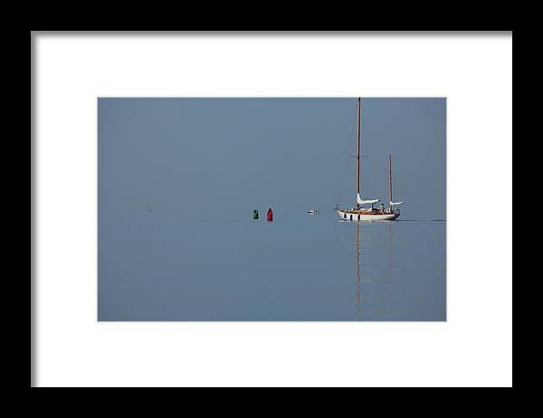 Sailboat Framed Print featuring the photograph Motoring Sail by Karol Livote