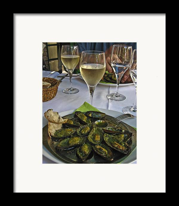 Food Framed Print featuring the photograph Moules And Chardonnay by Allen Sheffield